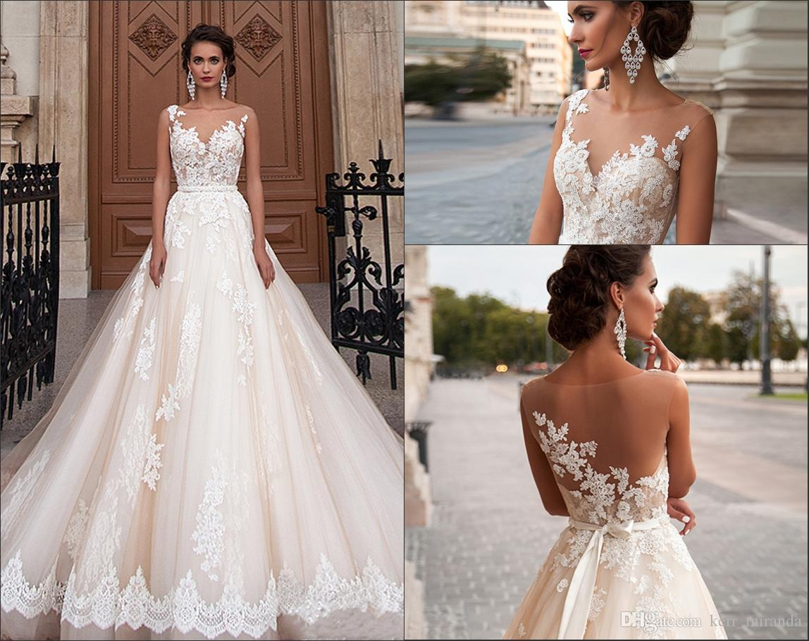 New Princes Sexy See Through Back Wedding Dresses Arabic Lace Appliques Vestios De Novia Bridal Gowns With Pearls Sash Tulle DH4145