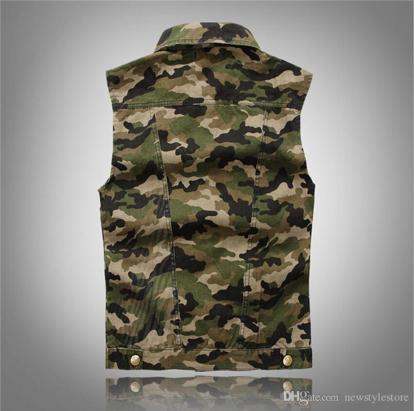 newest low price run shoes New 2018 Lapel Denim Vest Mens Distressed Denim Waistcoat Camouflage  Sleeveless Jeans Denim Jacket Casual Vests For Men Gilet Biker Homme UK  2019 From ...