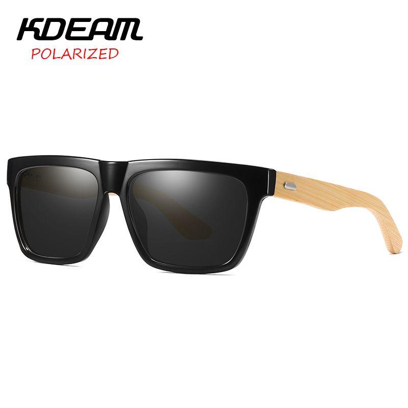 a68de98704 Flat Top Bamboo Sunglasses Men Square Polarized Eyewear UV400 Protection  Women Goggle Night Vision Glasses KDEAM KD8802 John Lennon Sunglasses Wiley  X ...