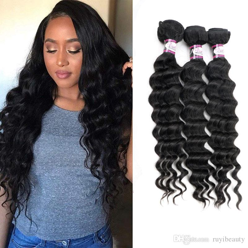 Brazilian Virgin Hair Extensions Deep Loose 3 Bundles Natural Color Double  Wefts Human Hair Products 8 28inch Loose Deep Bundles Best Hair Weave For  Black ... c2d692ddb2