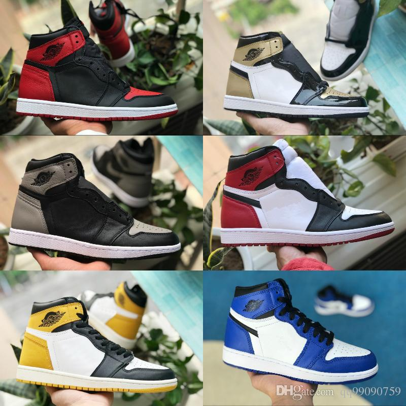 get cheap 8a364 418a3 Compre 2018 Nike Air Jordan 1 Shoes Air Max Michael Jordans Retro Nuevo 1  High OG Zapatillas De Baloncesto Juego Royal Banned Shadow Bred Toe Hombres  ...