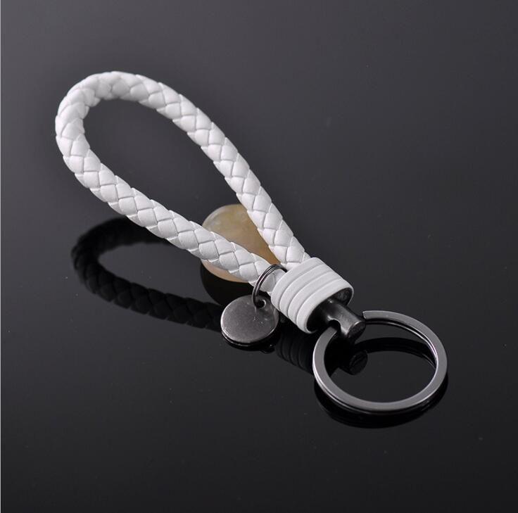 Hohe Qualität PU Leder Seil Woven Schlüsselbund Männer Frauen Schlüsselanhänger Schlüsselanhänger Auto Tasche Anhänger Charme 20 Farben