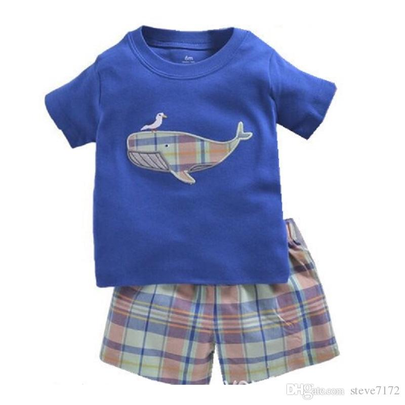 2018 Baby Clothes Set Whale Fashion Boys T-Shirt Short Pants 2-Pieces Clothing Suit Children Tee Shirts Outfit 100% Cotton Suit Tracksuit