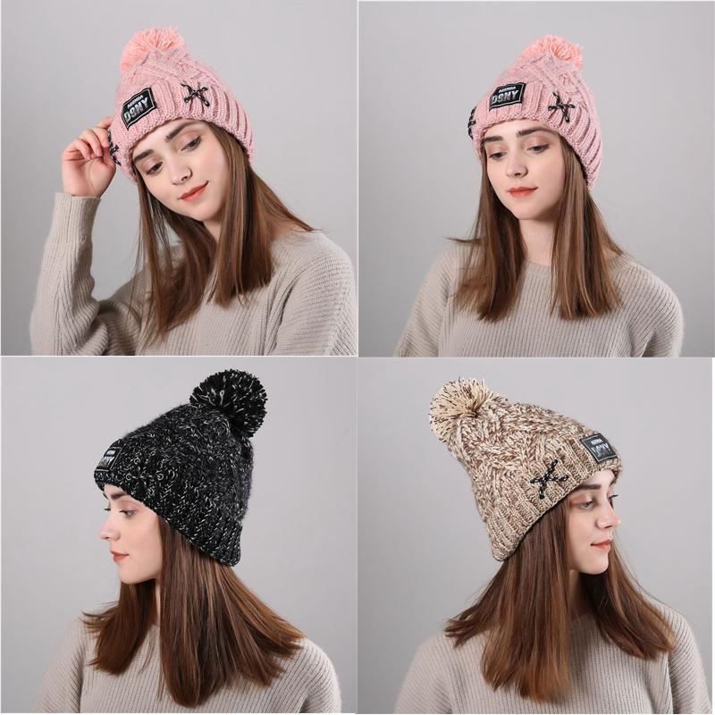 c3086ec2f7b Winter Warmer Women Hats Brand Beanies Knitted Caps Crochet Hat Pompons Ear  Protect Plus Velvet Caps Ladies Beanies CJ191 Snapback Hats Straw Hat From  ...
