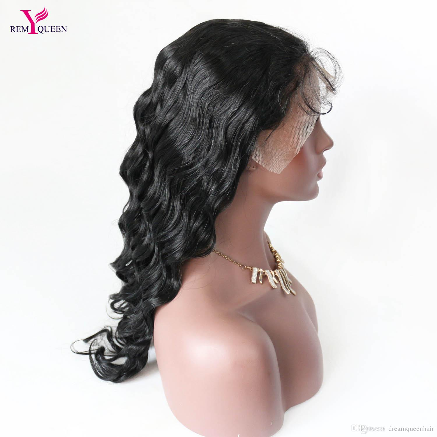 Remy Queen Body Wave Front Lace Wigs For Black Women 8A Natural Color Wig with Baby Hair Around Natural Hairline 130% Density