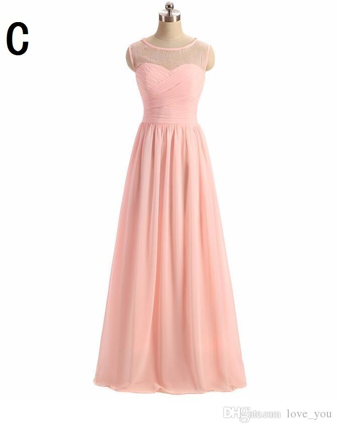 3 estilos mixtos Vintage gasa larga dama de honor vestidos halter volantes longitud longitud volantes criada de los vestidos de honor cremallera trasero por 100
