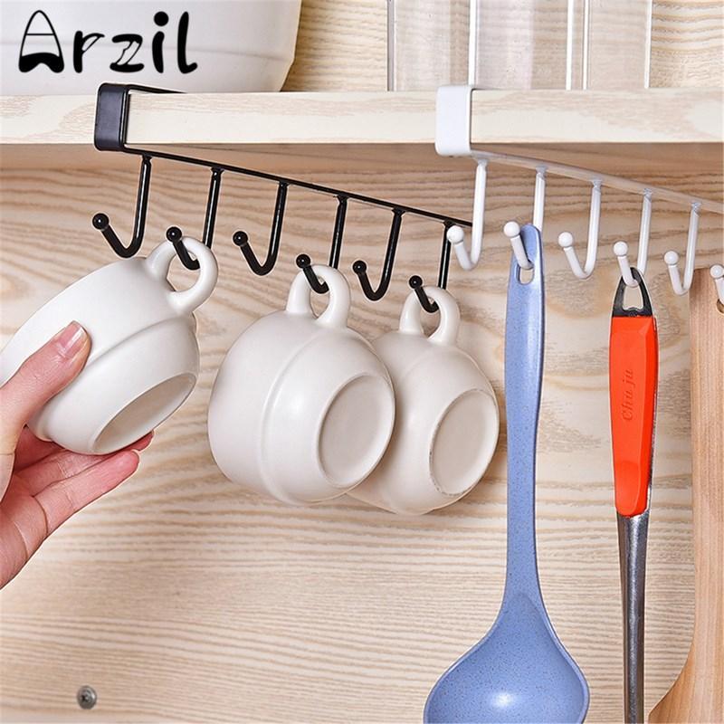 Kitchen Cabinet Under Shelf 6 Hooks Cup Holder Iron Hanging Storage Rack Glass Mug Mokken Organiser Bedroom Wardrobe Clothes