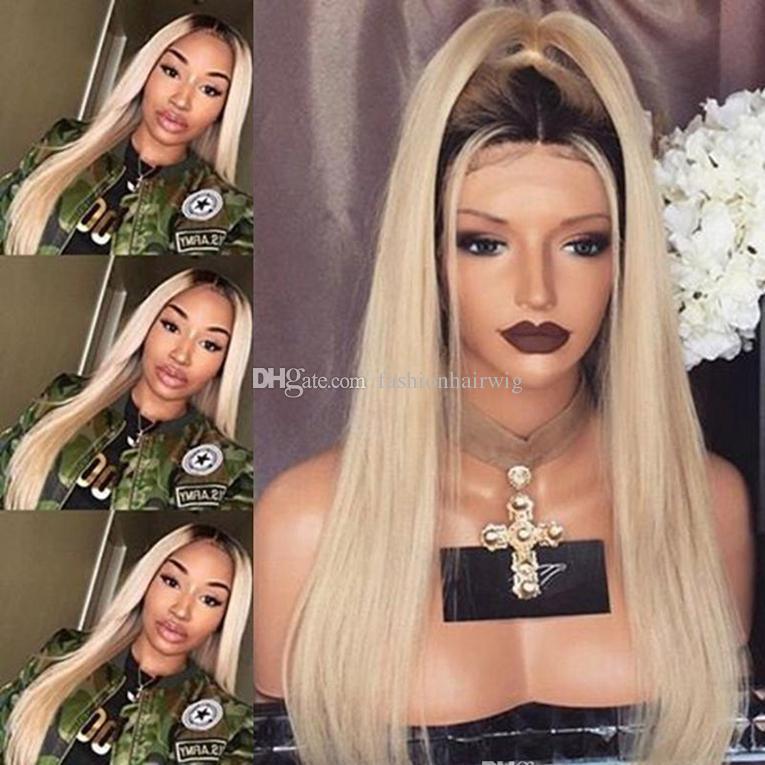 Parrucche sintetiche di alta qualità Parrucca di seta glueless diritta serica dei capelli dell'ombro Parrucche di pizzo sintetico resistente al calore termoresistente le donne nere