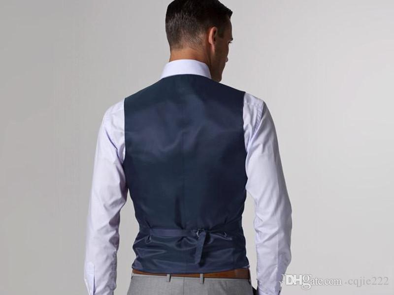 Abiti Blazer Nuovo bello Vent laterale grigio chiaro smoking dello sposo Groomsmen Notch risvolto migliore vestito dell'uomo cerimonia nuziale degli uomini Jacket + Pants + Vest + Tie 79