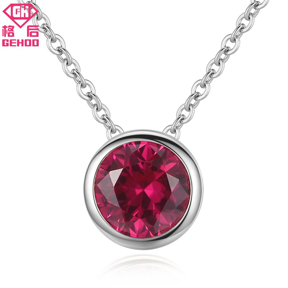60da286591b765 2019 GEHOO High Quality Small Red Stone Ruby Pendant Necklace 925 Sterling  Silver Choker Women Wedding Charm Jewelry Collier Femme From Fenkbao, ...