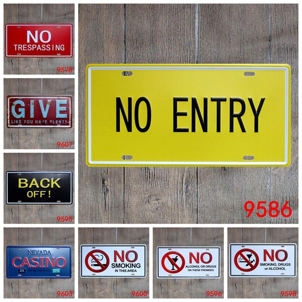 2018 Antique License Plates Retro Metal Tin Signs Public Warning No ...
