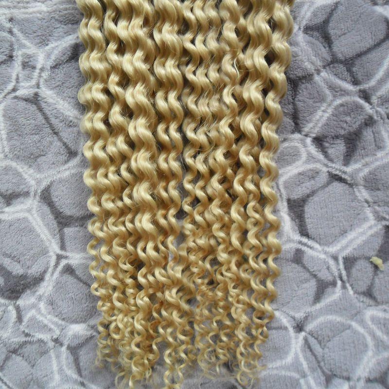 200g #613 Bleach Blonde kinky curly Keratin Human Fusion Hair Nail I Tip Machine Made Remy Human Hair Extensions 1g/strand