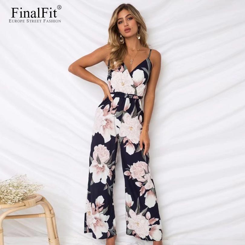 fb39586f0c 2019 Floral Cami Jumpsuit Women Sashes Belted Loose Wide Leg Strap Women  Jumpsuit Rompers Y1891807 From Zhengrui07