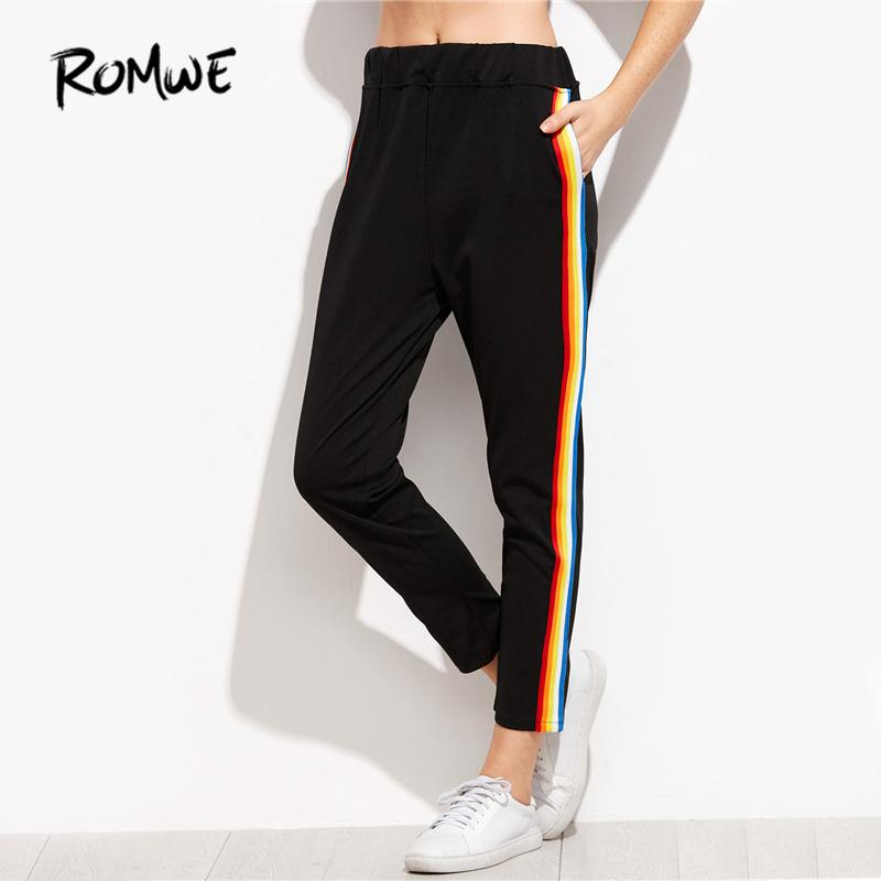 Compre ROMWE Negro Rainbow Raya Pantalones Laterales Pantalones De Mujer  Pantalones De Cintura Elástica Casual Para Mujer Otoño Mediados De Cintura  Suelta ... 1e47107ecf194
