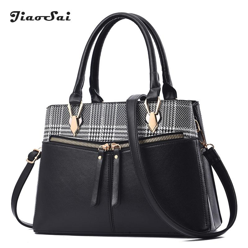 0bfb287d0c Luxury Brand Plaid Women Bag Double Zipper Ladies Pu Leather Tote Shoulder Bag  Handbags Hit Color Patchwork Crossbody Bolsa Rosetti Handbags Name Brand ...
