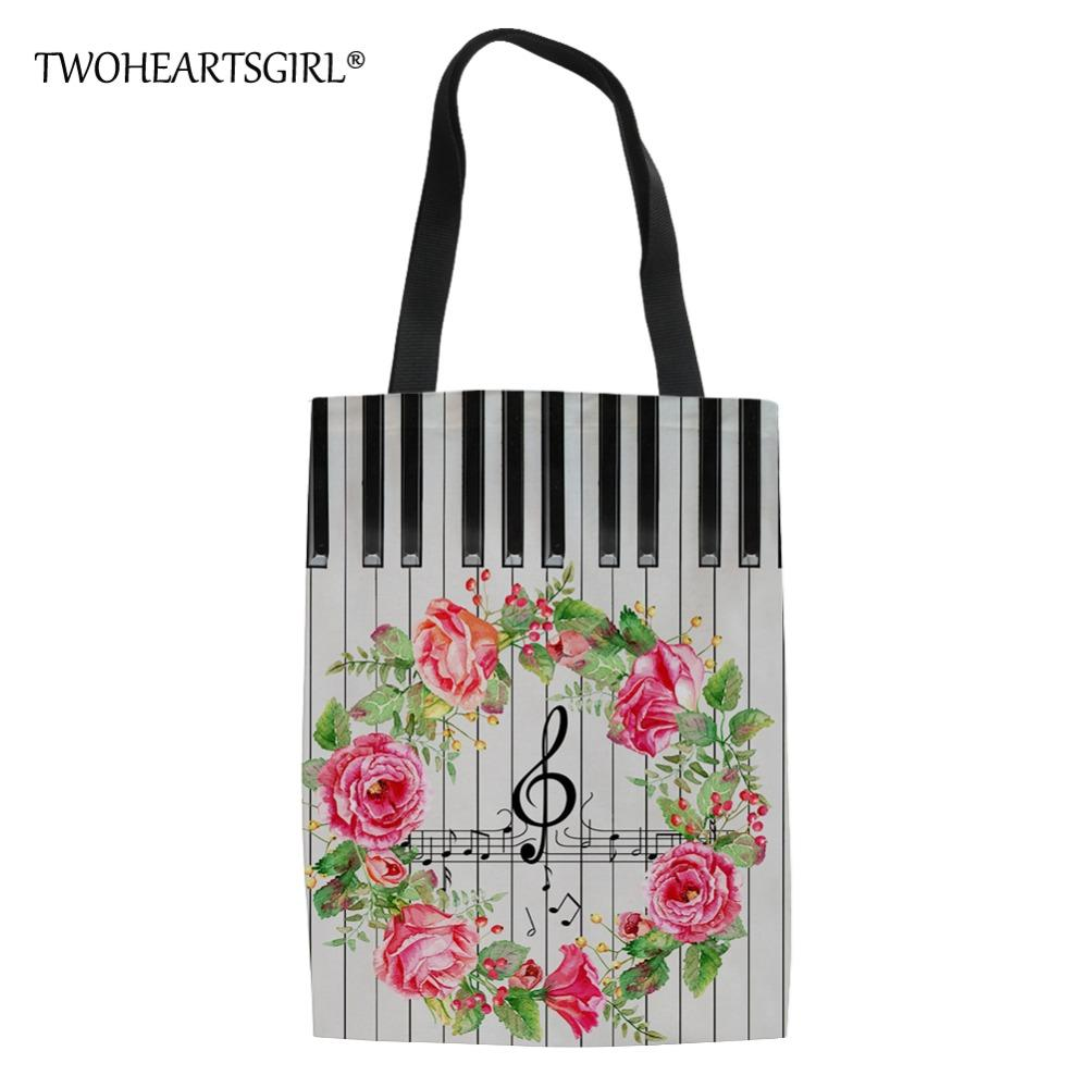 44a8c474adf3 Twoheartsgirl Fashion Youth Girls Linen Tote Bags Music Printing Ladies  Summer Beach Bag Women Large Capacity Canvas Handbags