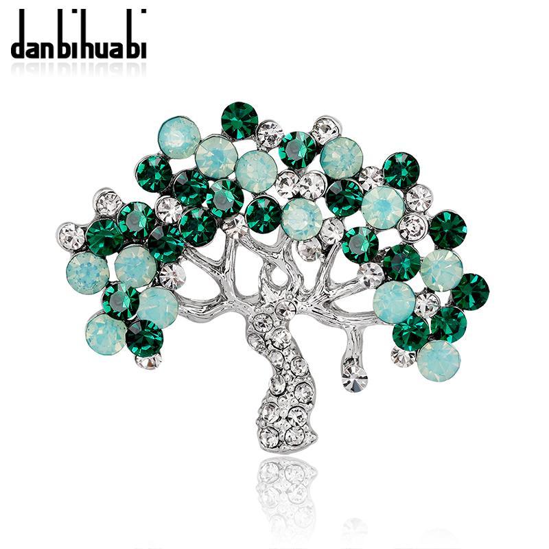 Fashion Rhinestone Tree Brooch For Women Kinds Metal Badge Plant ... be2692ce46f6
