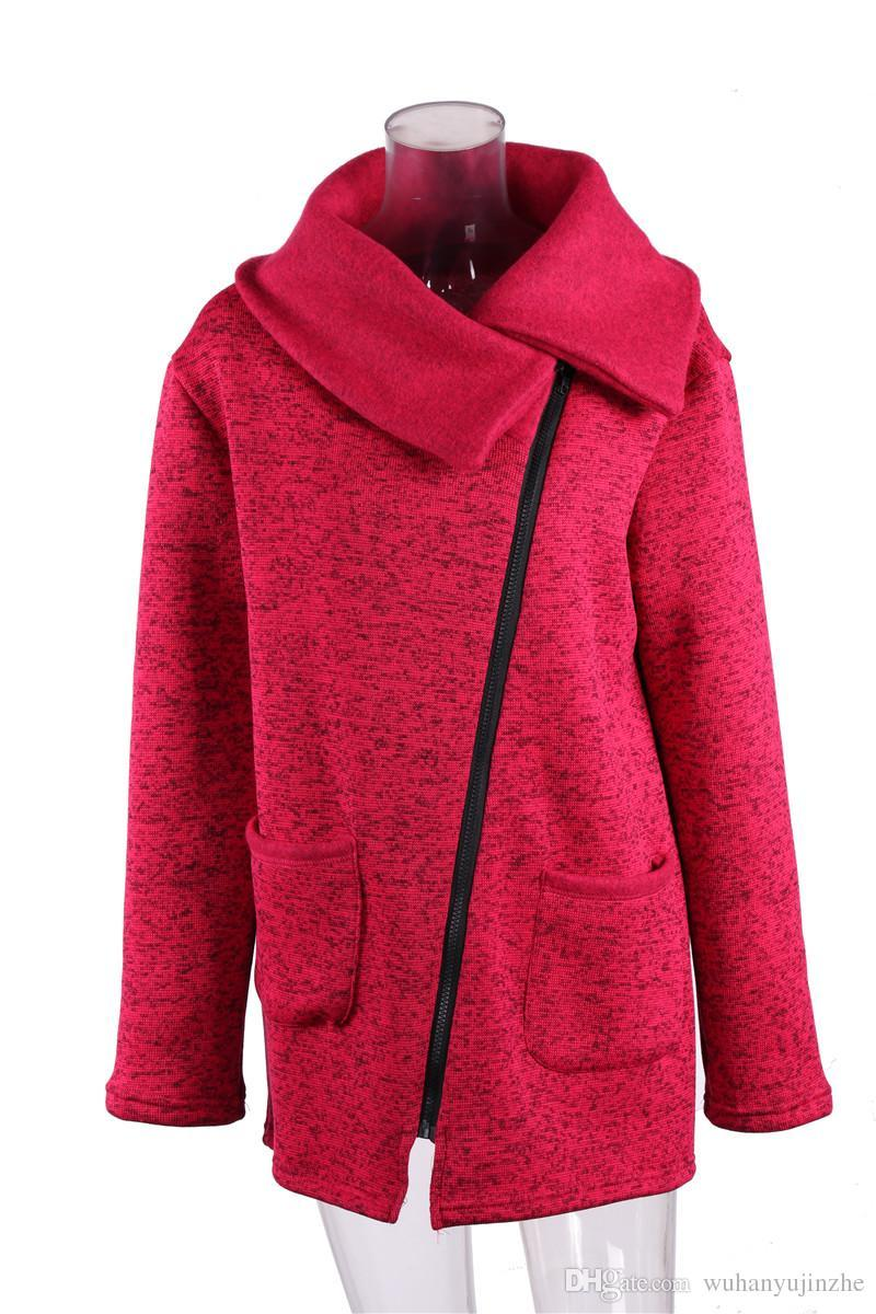 ca85023f6a6 2019 2017 Plus Size Women S Side Zipper Plus Cashmere Hoodies Big Turn Down  Collar Solid Long Sleeves Jacket CL321 From Hellopink