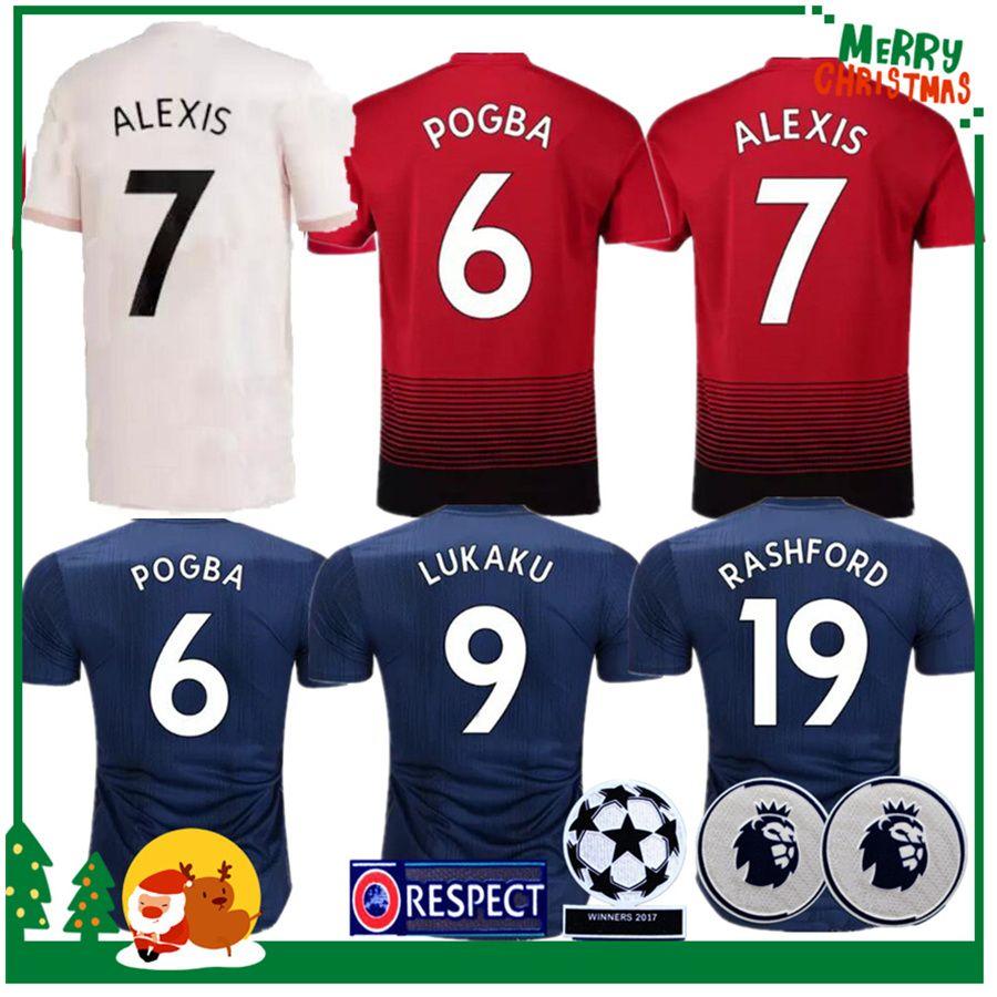 d0bf4a00b 2018 2019 Manchester ALEXIS POGBA LUKAKU MKHITARYAN RASHFORD Soccer Jersey  United MEMPHIS MATA 18 19 ANDER HERRERA Sports Football Shirt Online with  ...