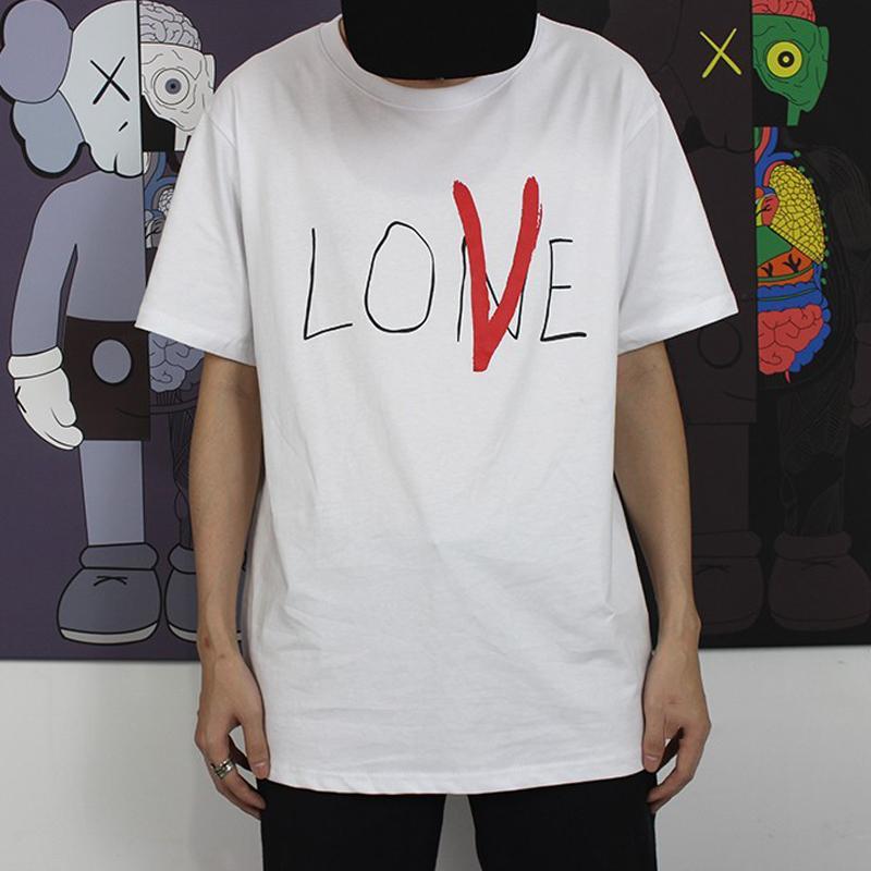 Acquista 18ss VLONE Life Lone Love T Shirt Moda Dipinta A Mano Tee Uomo  Donna T Shirt Casual Allentata Streetwear Hip Hop Girocollo Estate Tee  HFLSTX214 A ... 3f9c54448a1d