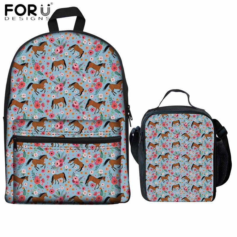 8b9d62881ab2 FORUDESIGNS Arabian Horse Flower Print School Backpacks for Teenage ...
