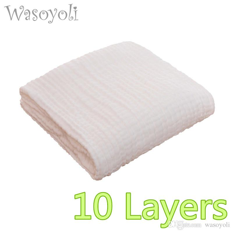 1 Piece Wasoyoli Baby White Blanket 110*110cm 100% Seersucker Muslin Cotton  10 Layers Soft swaddles Bath Robe Newborn Baby Hold Wraps