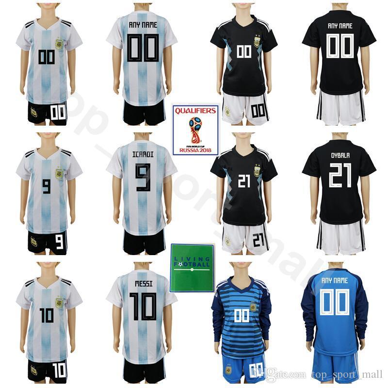 7f6185ac3 2019 Youth Argentina Jersey Set Long Sleeve Soccer 2018 World Cup Kids 11  DI MARIA 10 MESSI 14 MASCHERANO KUN AGUERO 23 CABALLERO Football Kits From  ...