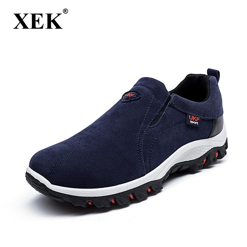 7665ce105 XEK Leather Men s Hiking Shoe Summer Slip On Sneakers For Male ...