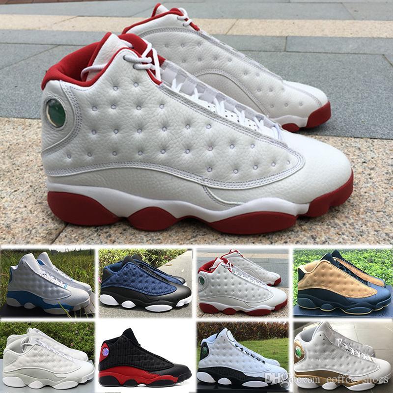 big sale 985ae 44bcd Acheter Designer Sneaker Shoes Avec Box 2018 Mode Nouveau Sport Baskets J13  Faible Éperons Blanc Noir Basketball Chaussures Sport 13 Chaussures De Sport  ...