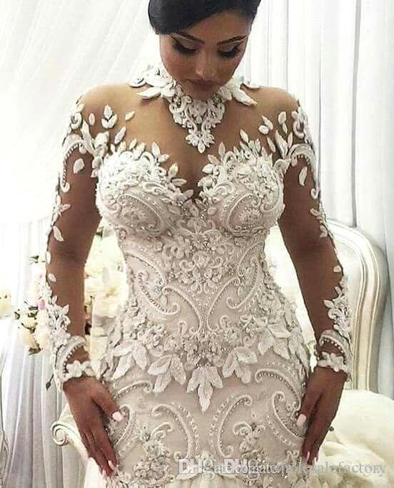 Azzaria Haute Sheer Långärmade Bröllopsklänningar 2018 Illusion Nigeria High Neck Appliqued Beaded Dubai Arabic Castle Mermaid Bröllopsklänning