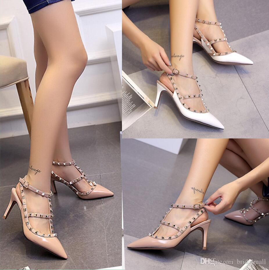 636be51b16e New Fashion Beautiful Nude Wedding Rivet Shoes Beads 8cm High Heels Wedding  Bridal Shoes Stiletto Heel For Wedding Evening Party Formal Ball Best  Bridal ...