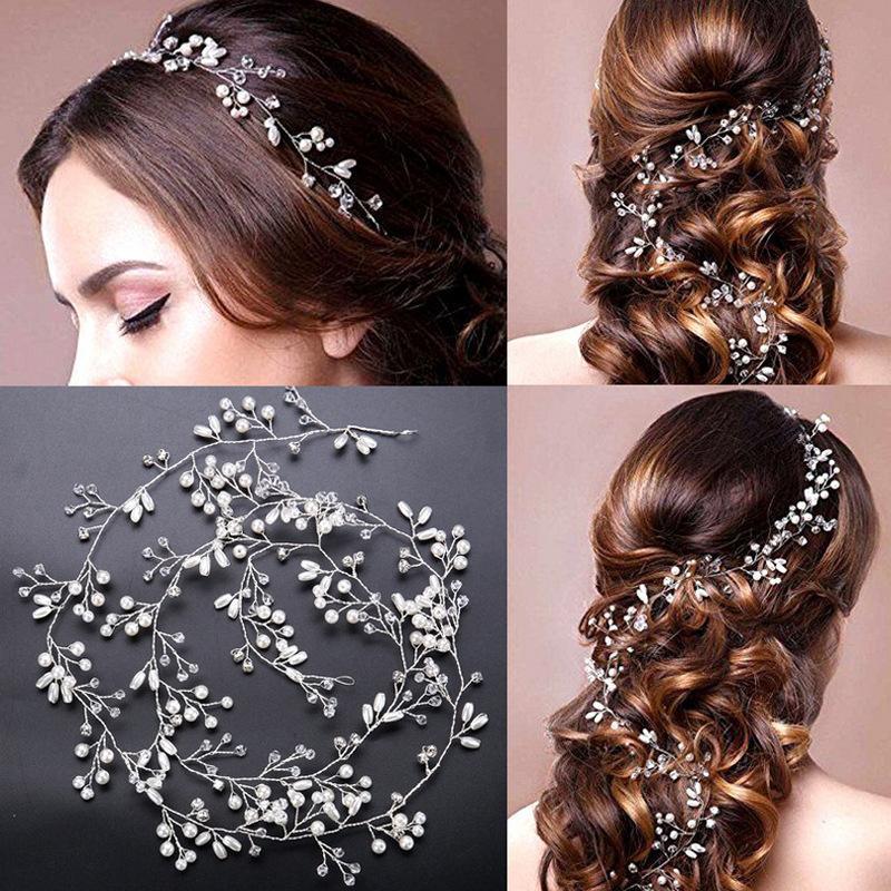 1a8e955f818 Handmade Bridal Crystal Rhinestone Hair Piece Women White Simulated Pearl  DIY Headband Wedding Tiaras Crown Hairband Accessories Ladies Hair Combs  Ladies ...