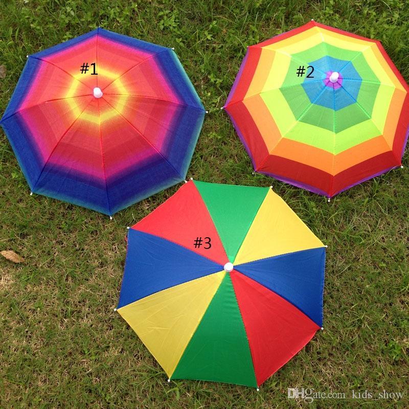 ac75cd2264e7e9 Foldable Sun Rainbow Umbrella Hat Adjustable Hat Umbrella for Hiking ...