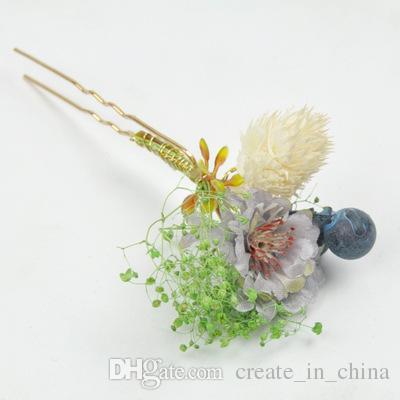 2018 Bridal Accessories New Fashion Hair pins Flower Hair clips Stick Pearl Beaded Hairpin Wedding Headpiece Real Photos