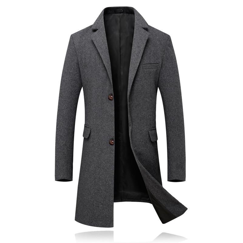 9eee8ad56a7 Compre Nueva Trench Coat Hombres Chaqueta De Lujo Para Hombre Abrigo Casual  Slim Fit Cortavientos Sólido Abrigo De Lana Largo Moda Masculina Abrigos De  ...