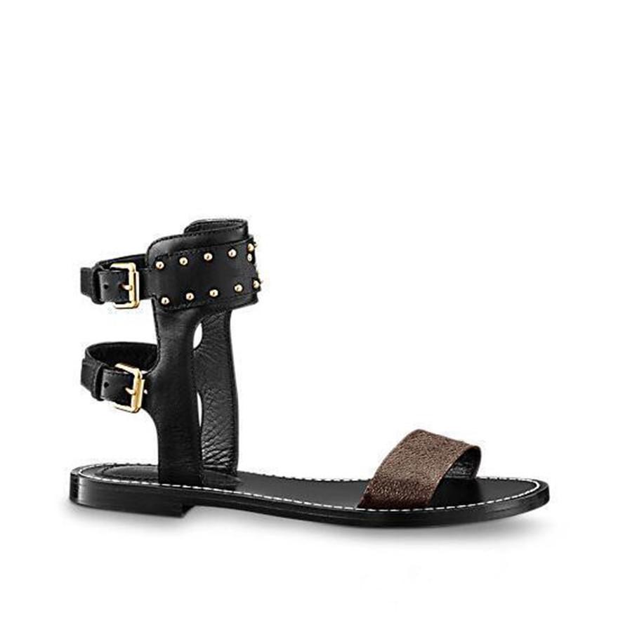149b3cdca01 Hot Branded Women Print Leather Nomad Sandal Ankle Wrap Paris Designer  Leather Outsole Perfect Flat Canvas Plain Sandals Size35 42 Espadrilles  Birkenstock ...