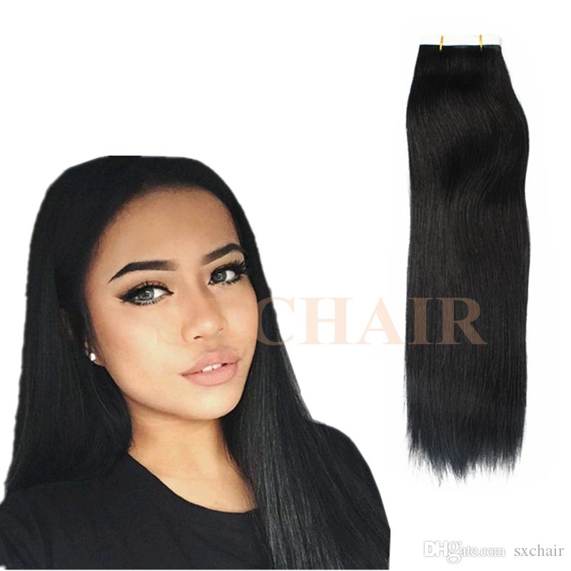40gram Tape In Human Hair Extensions Balayage Ombre Color Brown
