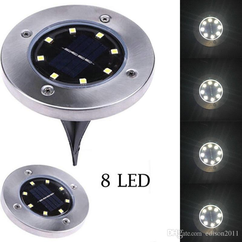 Edison2011 IP65 Waterproof 8 LED Solar Outdoor Ground Lamp Landscape Lawn Yard Stair Underground Buried Night Light Home Garden Decoration