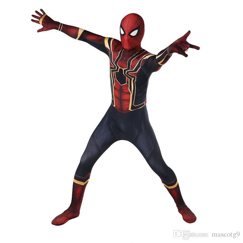 Sıcak Satış Yüksek Kalite Mens yetişkin Cadılar Bayramı Demir Örümcek Adam kostüm Lycra zentai SuperHero Tema Kostüm cosplay Tam Vücut Suit