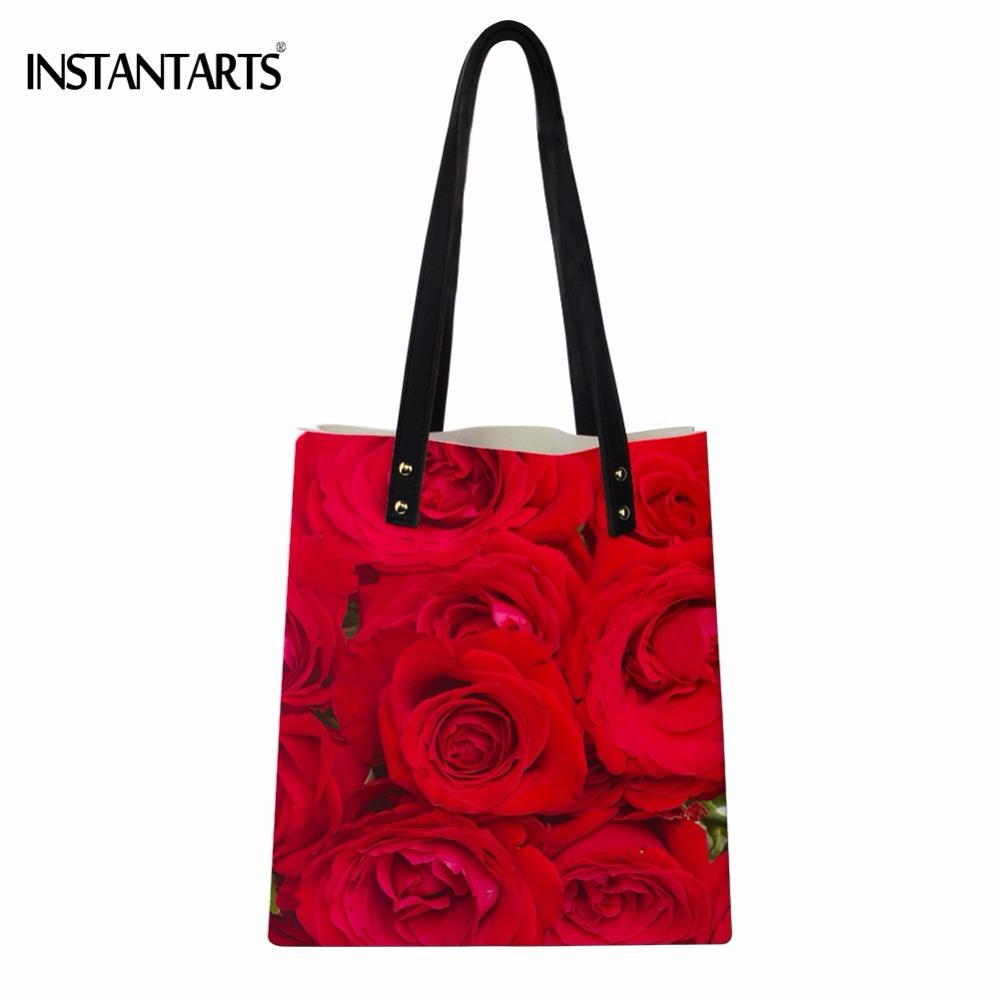 INSTANTARTS Red Pretty Flower Rose Print Women PU Leather Tote Bags Fashion Ladies Shoulder Bags Large Capacity Shopping Handbag