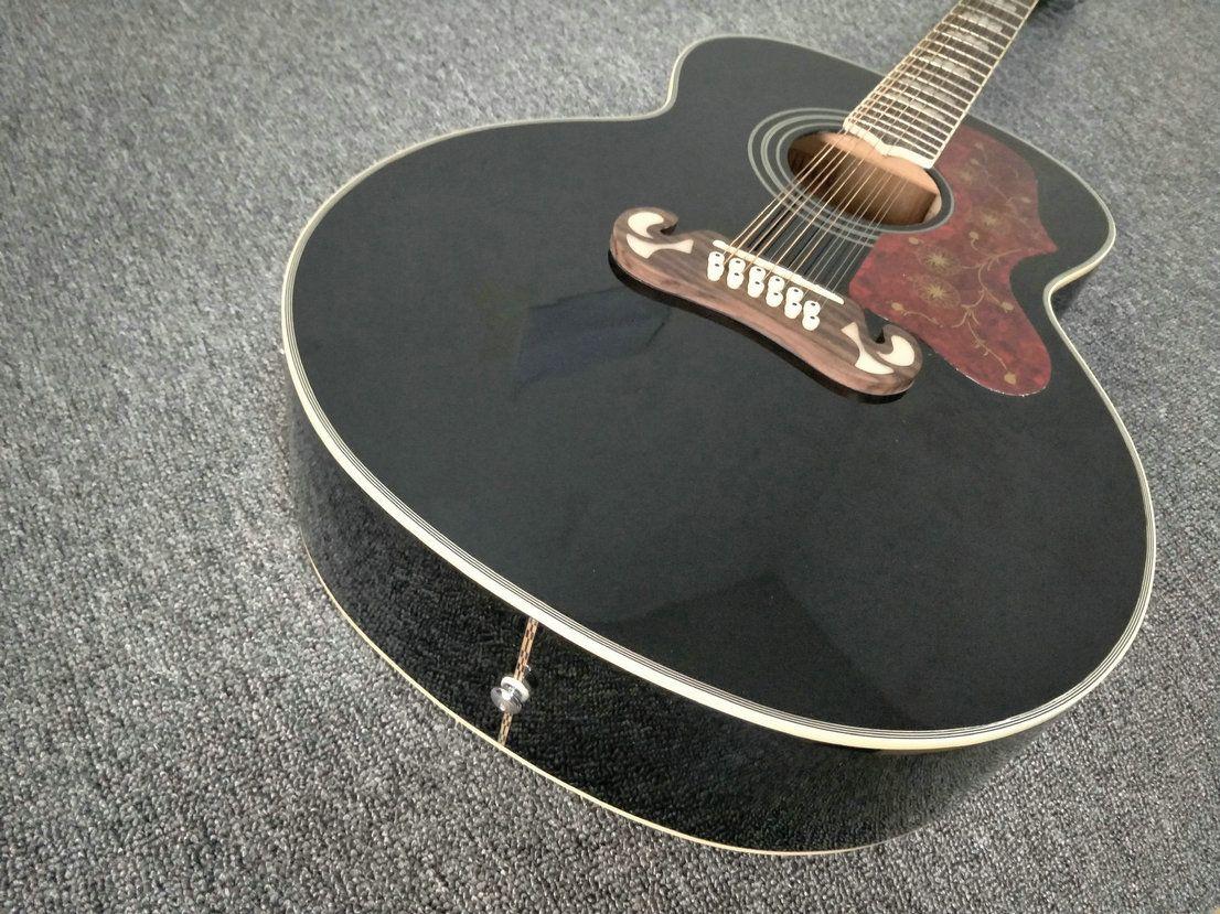 6d17a5000535 Compre Límite SALE 43 Pulgadas 12 Cuerdas Guitarra Negro Sólido Guitarra  Acústica 21 Trastes Guitarra Acústica Lateral De Abeto Macizo * A Medida  Todas Las ...