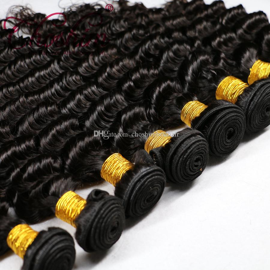9A Onda profonda brasiliana di visone con chiusura 4 pacchi capelli umani ondulati ricci con chiusure in pizzo vergine brasiliana capelli e chiusura