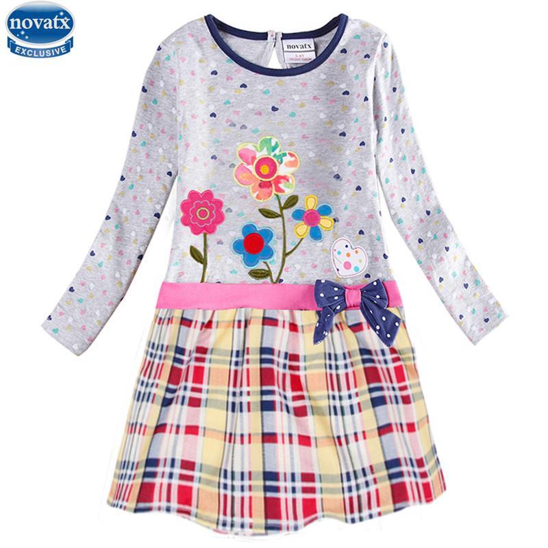 novatx H6241 새로운 디자인 봄 가을 긴 소매 자 수 꽃 도트 소녀 인과 복장 노비 아이 작은 소녀 드레스