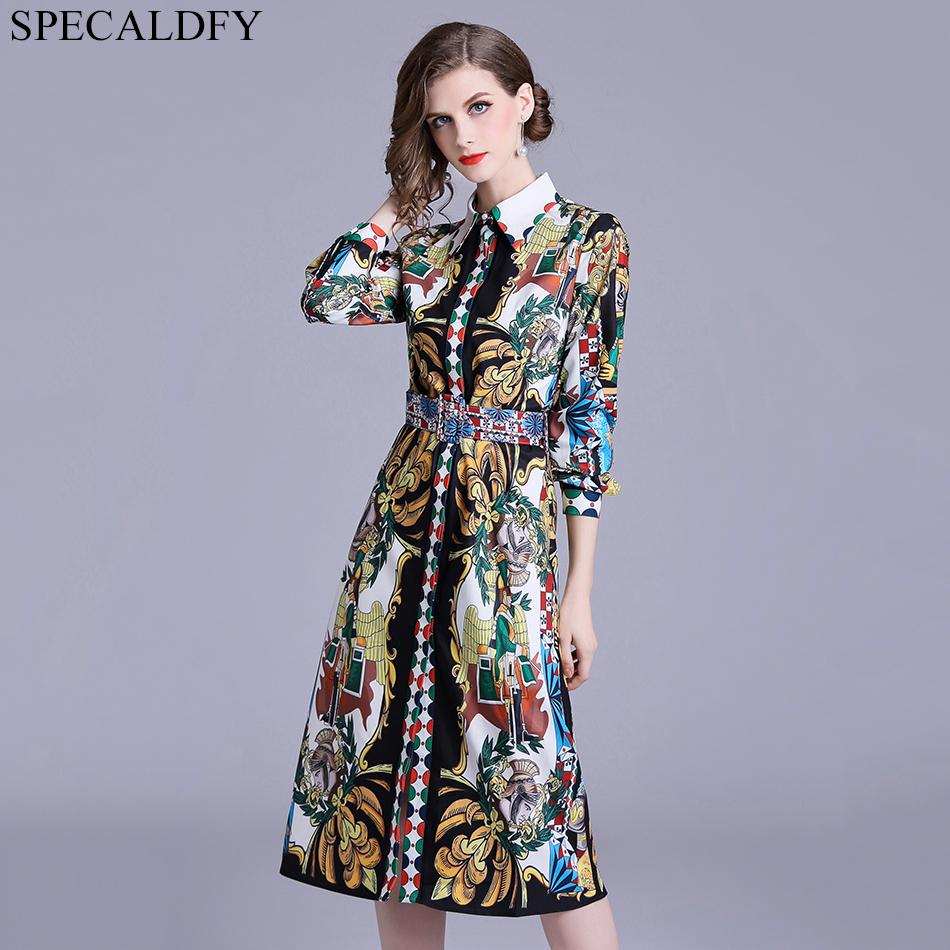 d9210a7db72 2019 Luxury Print Vintage Casual Shirt Dress Women Autumn Dress Runway Designer  Dresses High Quality Women Fashion 2018 Robe Femme From Junxcj