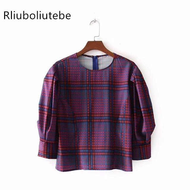 4689f33948 Women Long Puff Sleeves Checked Top Vintage Plaid Blouse Contrast ...
