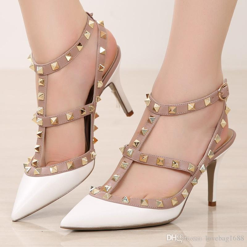 HOT Women Pointed Toe Studded Ankle Strappy Pumps High Heel Shoes Rivet Size US4--11