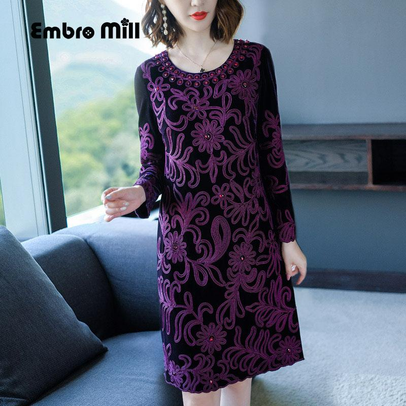 2019 Chinese Traditional Clothing Women Purple Velvet Dress Autumn Vintage  Floral Embroidery Elegant Lady Beautiful Party Dress M 4XL From Xiatian6 40e72aa8de78
