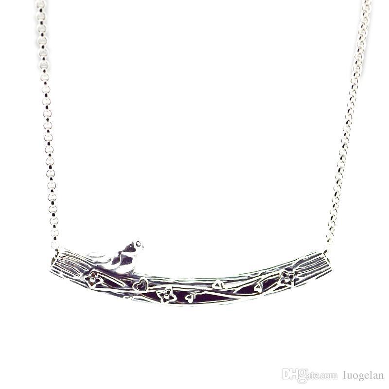 Compatibile con gioielli Pandora 925 Silver Bird curvo Bar collana le donne dei pendenti di modo monili originali Charms