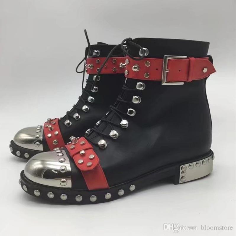 pretty nice 7969d f3f2f Designer Hobnail Mod Stiefeletten Damen Leder Sneakers Schwarz Spikes  Martin Stiefel Espadrilles Rihanna Creepers Schuhe 8 Farben