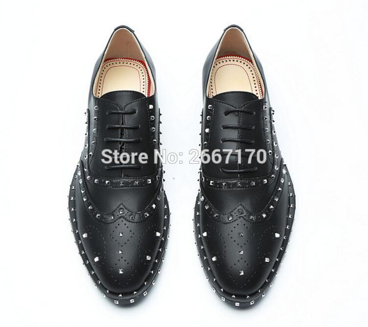 Hombre Compre Hombres Cordones Pisos Tachuelas Para Cuero De Espigas Gruesos Casuales Bajos Zapatos Vestido Con rrpFxU5